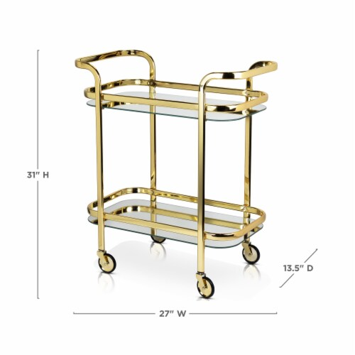 Viski 5891 Belmont Gold Bar Cart Perspective: top