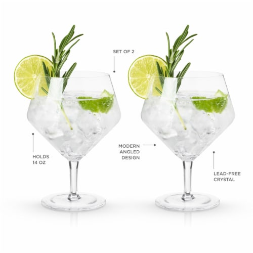 Angled Crystal Gin & Tonic Glasses by Viski® Perspective: top