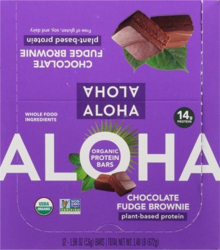 Aloha Organic Chocolate Fudge Brownie Protein Bars Perspective: top