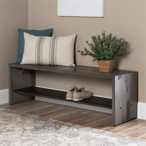 """58"""" Solid Rustic Reclaimed Wood Entry Bench - Grey Perspective: top"""