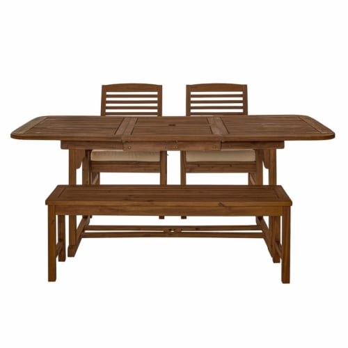 4 Piece Wood Patio Dining Table Set - Dark Brown Perspective: top