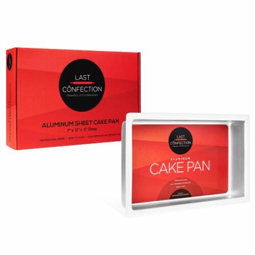 7  x 11  x 2  Deep Rectangular Aluminum Cake Pan by Last Confection Perspective: top