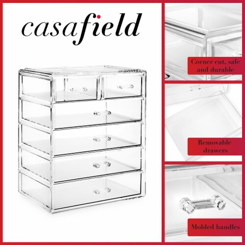 Acrylic Cosmetic Makeup Organizer Jewelry Box Storage Set - 6 Drawers Perspective: top