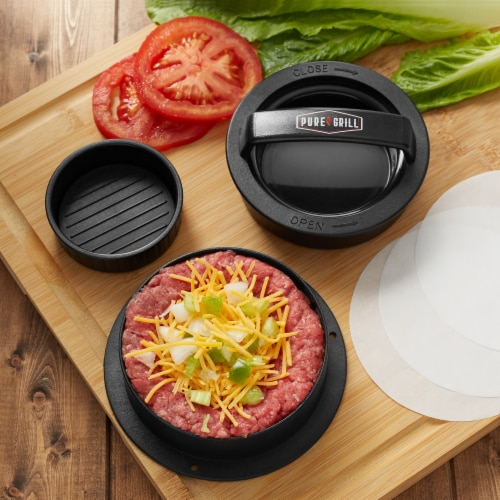 3-in-1 Burger Press Patty Maker with 100 Wax Papers by Pure Grill Perspective: top