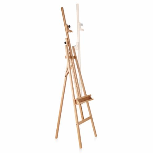 Large Adjustable Beechwood Artist Easel with Brush Holder- 7 Elements Perspective: top