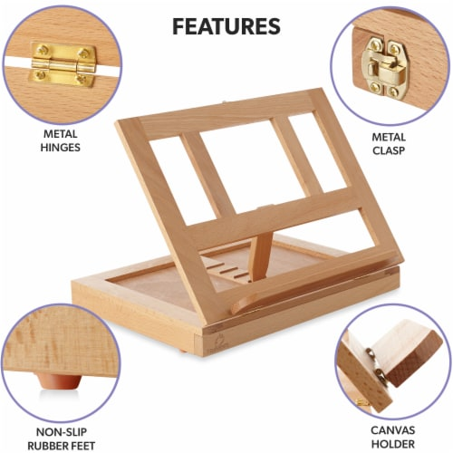 Beechwood Table Easel- Adjustable with Palette and Storage- 7 Elements Perspective: top