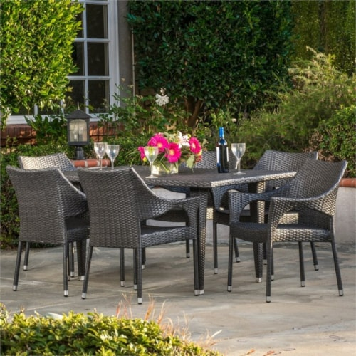 Noble House Cliff 7 Piece Outdoor Dining Set in Gray Perspective: top