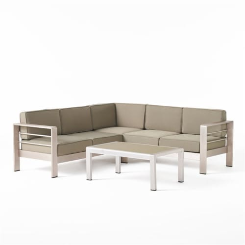 Noble House Cape Coral Khaki Water Proof Cushion Sofa Set with Glass Table Perspective: top