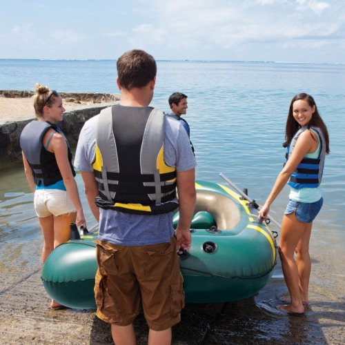 Intex Seahawk 4 Inflatable 4 Person Boat Raft Set with Oars & Air Pump (2 Pack) Perspective: top
