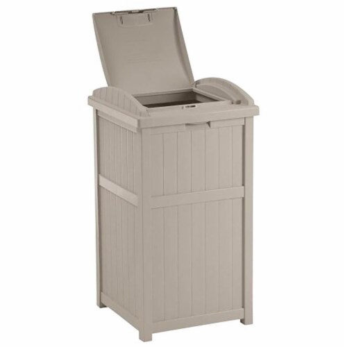 Suncast 30-33 Gallon Deck Patio Resin Garbage Trash Can Hideaway, Taupe (3 Pack) Perspective: top