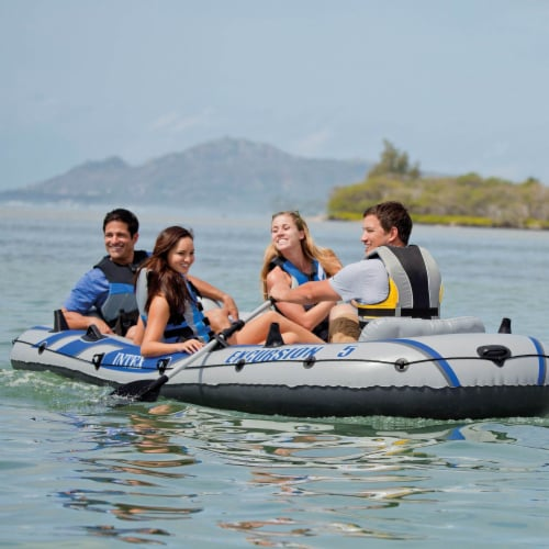 Intex Excursion 5 Person Inflatable Rafting and Fishing Boat w/ 2 Oars (4 Pack) Perspective: top