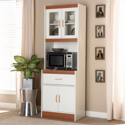 Baxton Studio Laurana Kitchen Cabinet and Hutch in White and Cherry Perspective: top