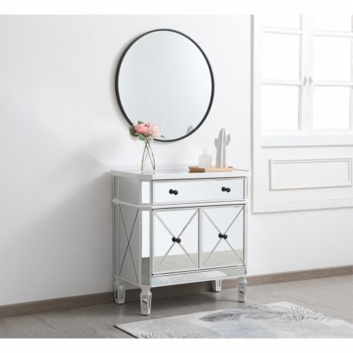 32 inch mirrored cabinet in antique white Perspective: top