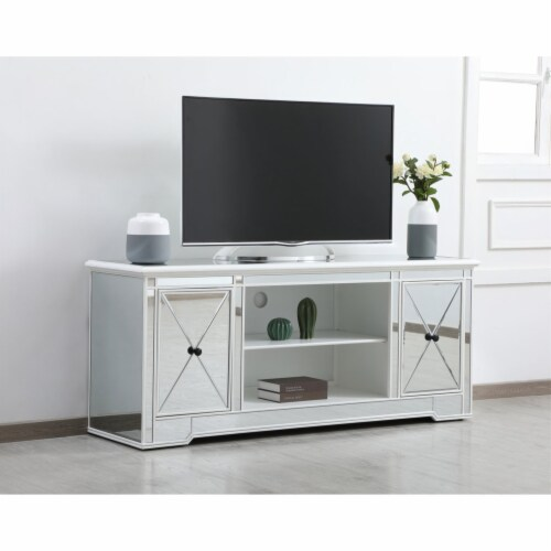 Modern 60 in. mirrored tv stand in antique white Perspective: top