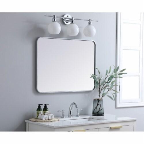 Soft corner metal rectangular mirror 24x32 inch in Silver Perspective: top
