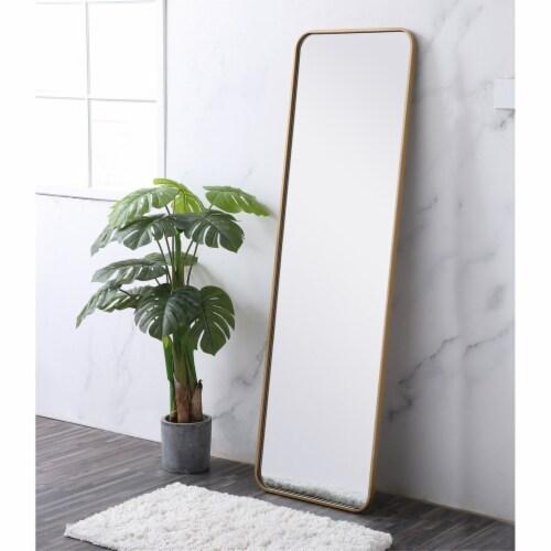 Soft corner metal rectangular mirror 18x60 inch in Brass Perspective: top