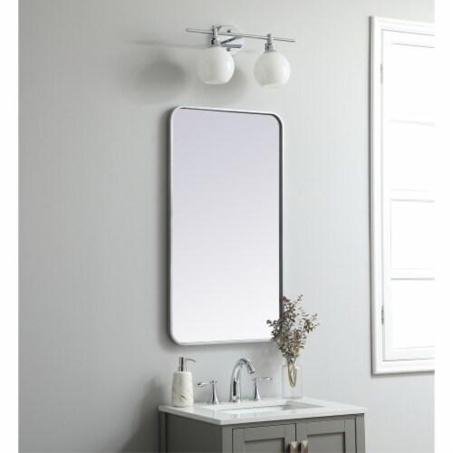 Soft corner metal rectangular mirror 20x36 inch in Silver Perspective: top