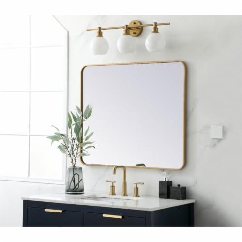 Soft corner metal rectangular mirror 30x36 inch in Brass Perspective: top