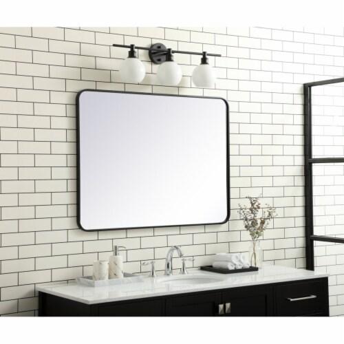 Soft corner metal rectangular mirror 30x40 inch in Black Perspective: top