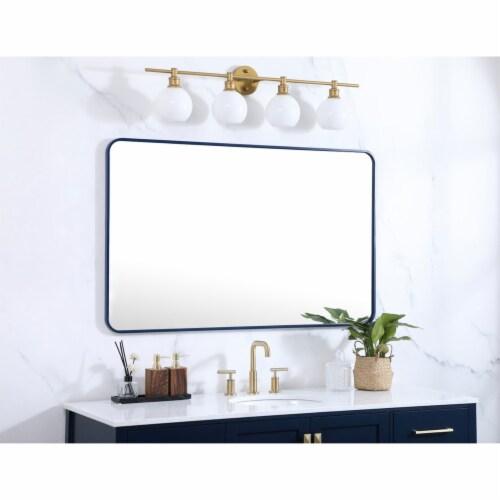 Soft corner metal rectangular mirror 30x48 inch in Blue Perspective: top