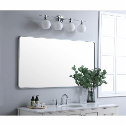 Soft corner metal rectangular mirror 30x60 inch in White Perspective: top