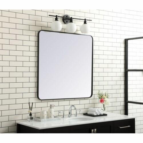 Soft corner metal rectangular mirror 36x36 inch in Black Perspective: top