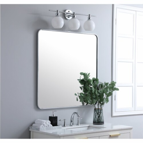 Soft corner metal rectangular mirror 36x36 inch in Silver Perspective: top