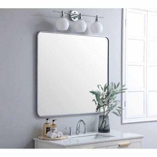Soft corner metal rectangular mirror 36x40 inch in Silver Perspective: top
