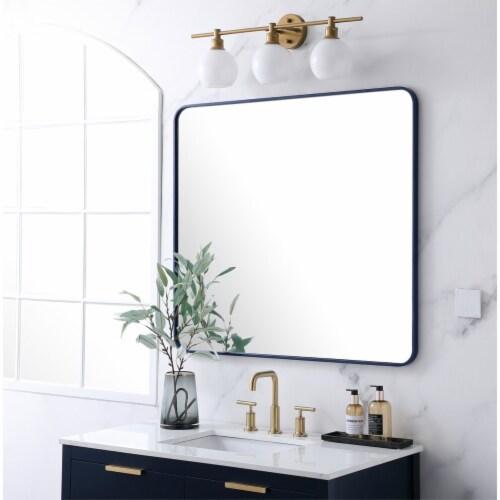 Soft corner metal rectangular mirror 36x40 inch in Blue Perspective: top