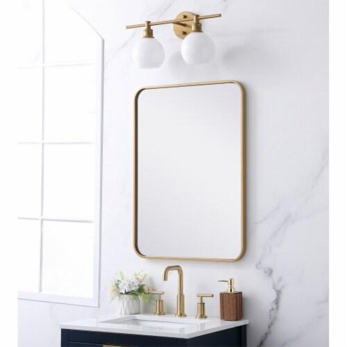 Soft corner metal rectangular mirror 22x30 inch in Brass Perspective: top