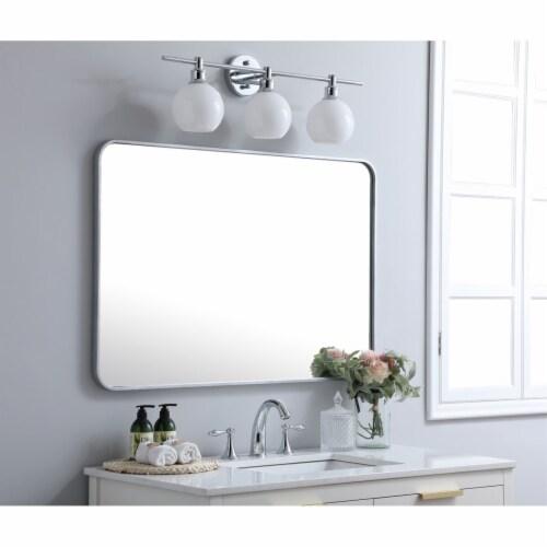 Soft corner metal rectangular mirror 27x40 inch in Silver Perspective: top