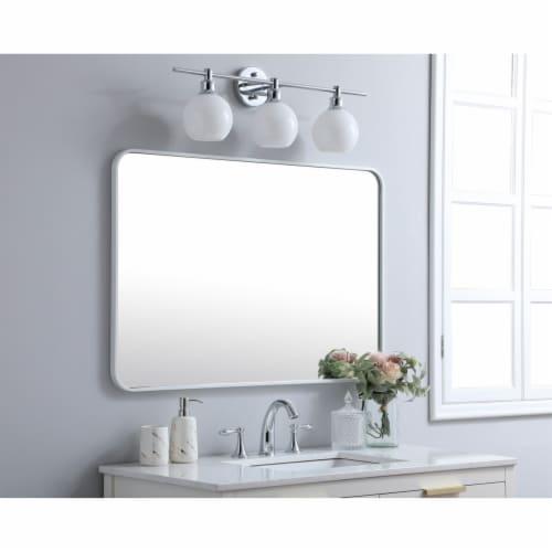 Soft corner metal rectangular mirror 27x40 inch in White Perspective: top