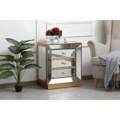 21 inch mirrored chest in antique gold Perspective: top