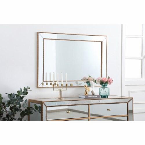 Iris beaded mirror 48 x 32 inch in antique gold Perspective: top