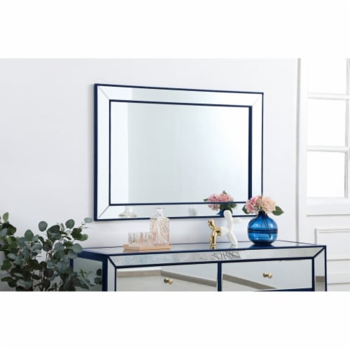 Iris beaded mirror 48 x 32 inch in blue Perspective: top