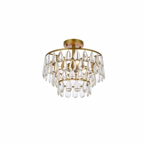 Mila 14 inch flush mount in brass Perspective: top