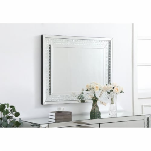Sparkle collection crystal mirror 32 x 40 inch Perspective: top