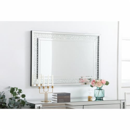 Sparkle collection crystal mirror 32 x 48 inch Perspective: top