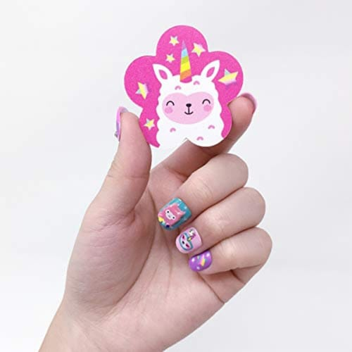 Scented Nail Glitz Llama - 20 Scented 3D Press on Nails, Matching Ring, 40+ Nail Stickers Perspective: top