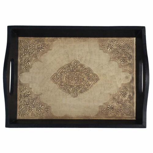 Benzara Handmade Serving Tray With Embossed Brass Work In Wood Frame - Brown/Black Perspective: top