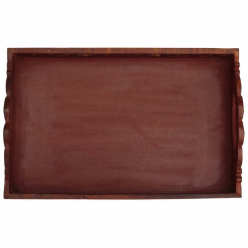 Benzara Hand Carved Wooden Serving Tray With Handles - Brown Perspective: top