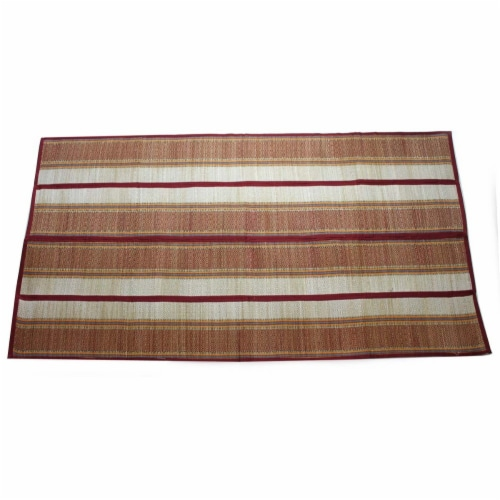 Benzara Indoor and Outdoor Woven Straw Yoga Beach Mat Perspective: top