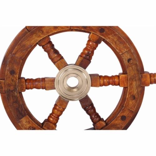 Benzara Teak Wood Ship Wheel Wall Decor - Brown/Gold Perspective: top