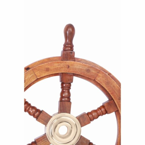 Teak Wood Ship Wheel With Brass Inset and Six Spokes - Brown and Gold Perspective: top