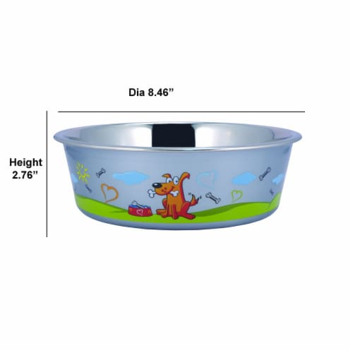 Multi Print Stainless Steel Dog Bowl By Bella N Chaser Perspective: top