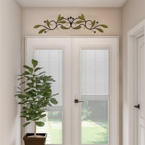 Benzara Olive Branch Door Top Wall Hanging In Metal - Green/Brown Perspective: top
