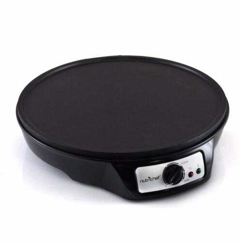 NutriChef Electric Nonstick Griddle Crepe Injera Maker Hot Plate Cooktop, Black Perspective: top