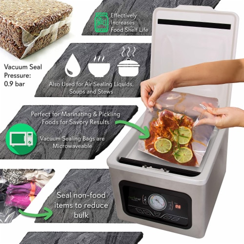 NutriChef PKVS70STS Chamber Food Electric Air Vacuum Sealer Preserver System Perspective: top