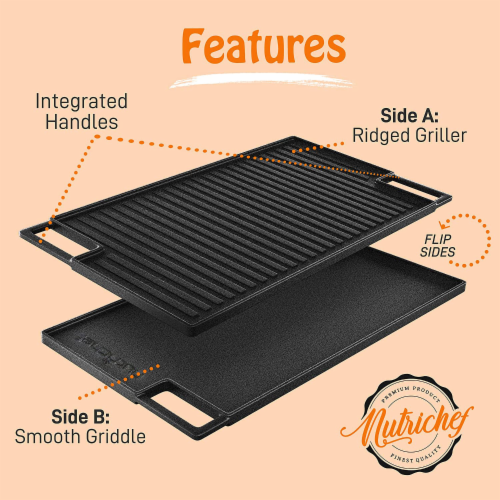 NutriChef NCCIRG59 18-Inch Cast Iron Reversible Grill Plate Perspective: top