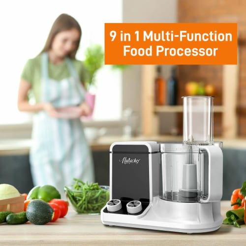 NutriChef 12 Cup Multi Function Food Processor with 6 Attachment Blades, White Perspective: top